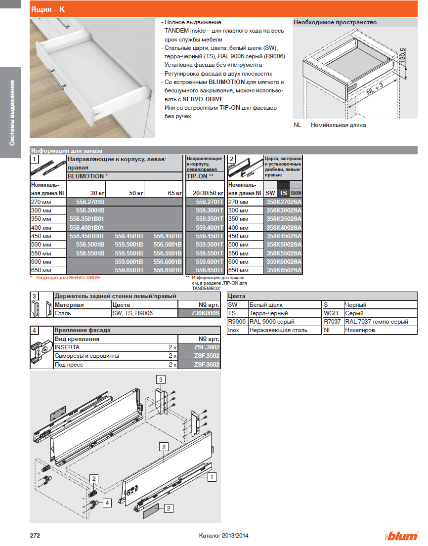 инструкция по монтажу tandem plus полного выдвижения 30 кг с доводчиком blumotion